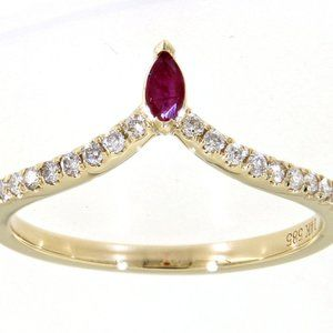 Ruby Marquise Diamond Delicate Ring Yellow Gold